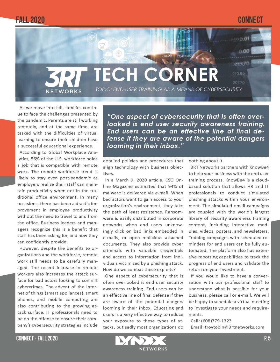 Connect Newsletter Fall 2020 Business P. 5 3RT Tech Corner